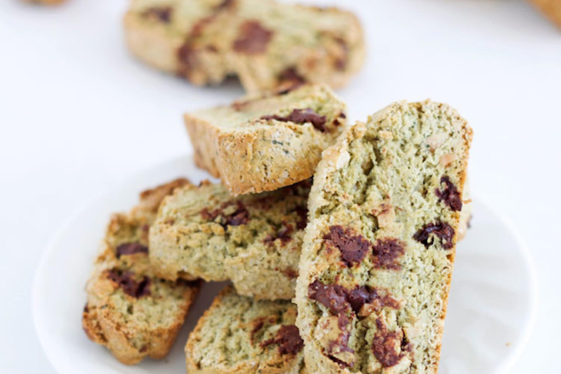 Almond matcha biscotti