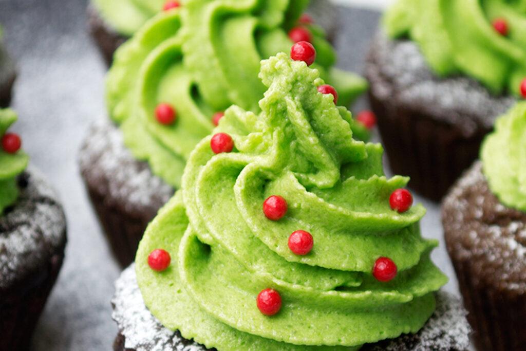 Christmas matcha chocolate cupcakes (gluten free)