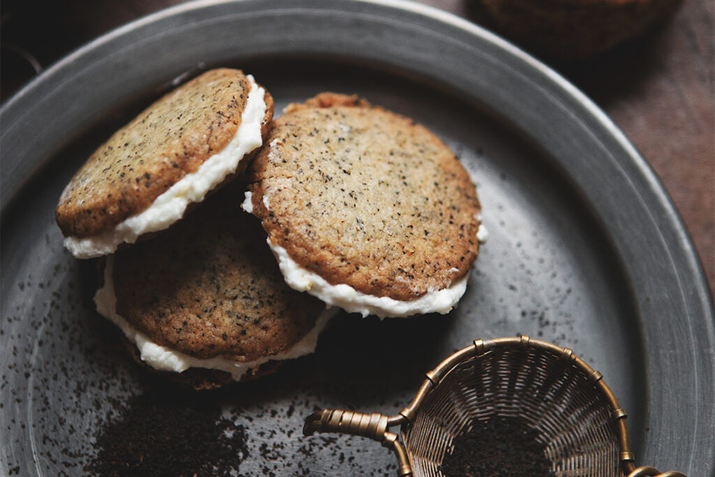 Earl grey cookie sandwiches with lemon buttercream.