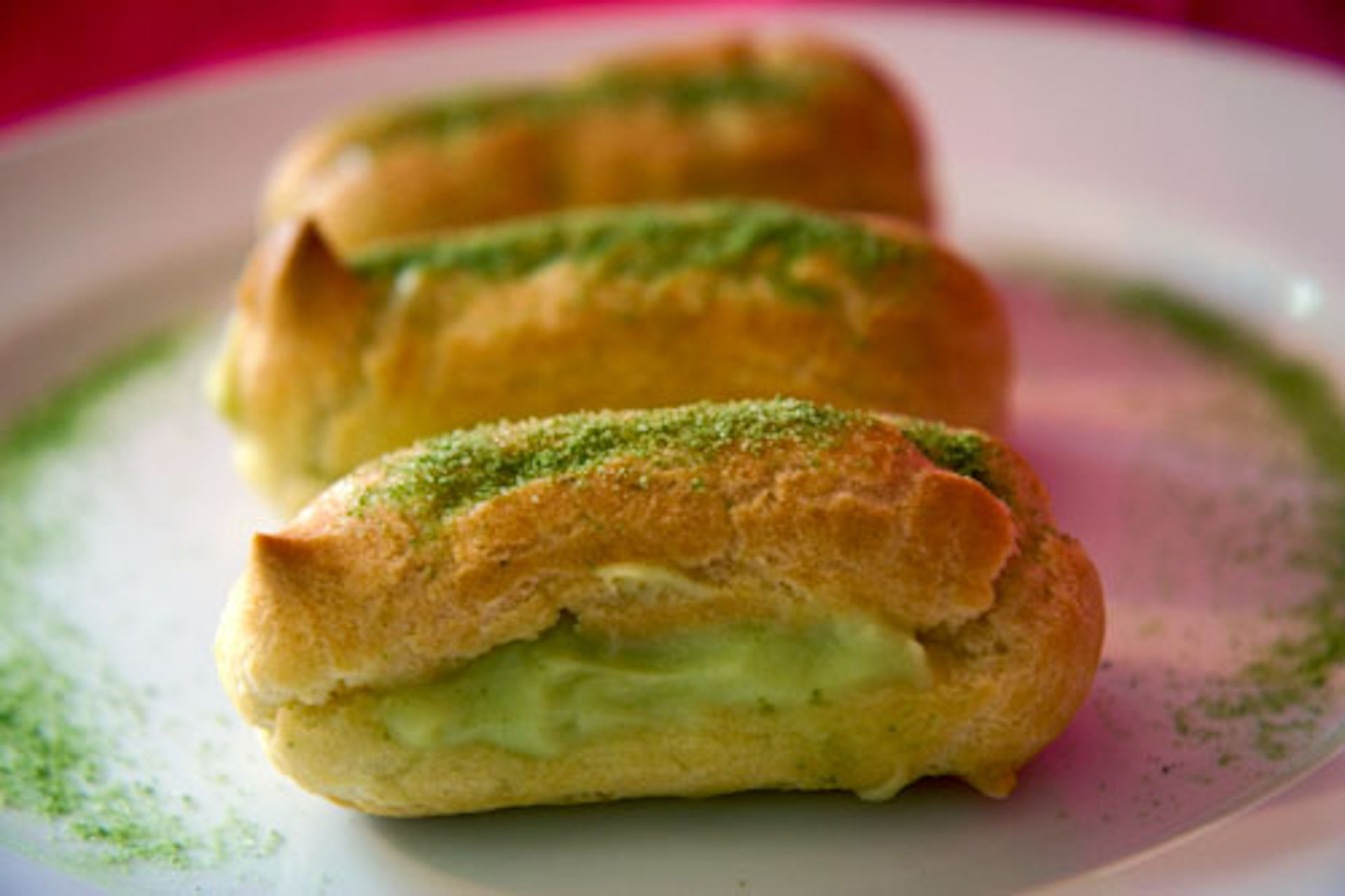 Green tea eclairs