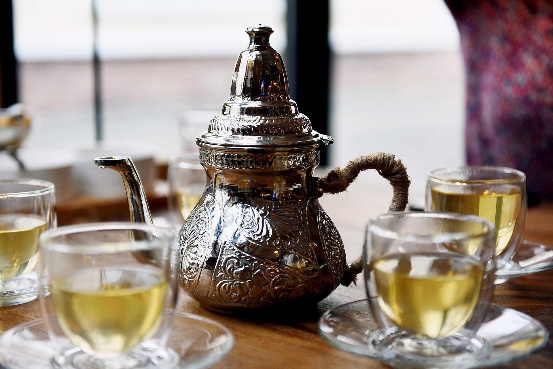 Green tea in silver