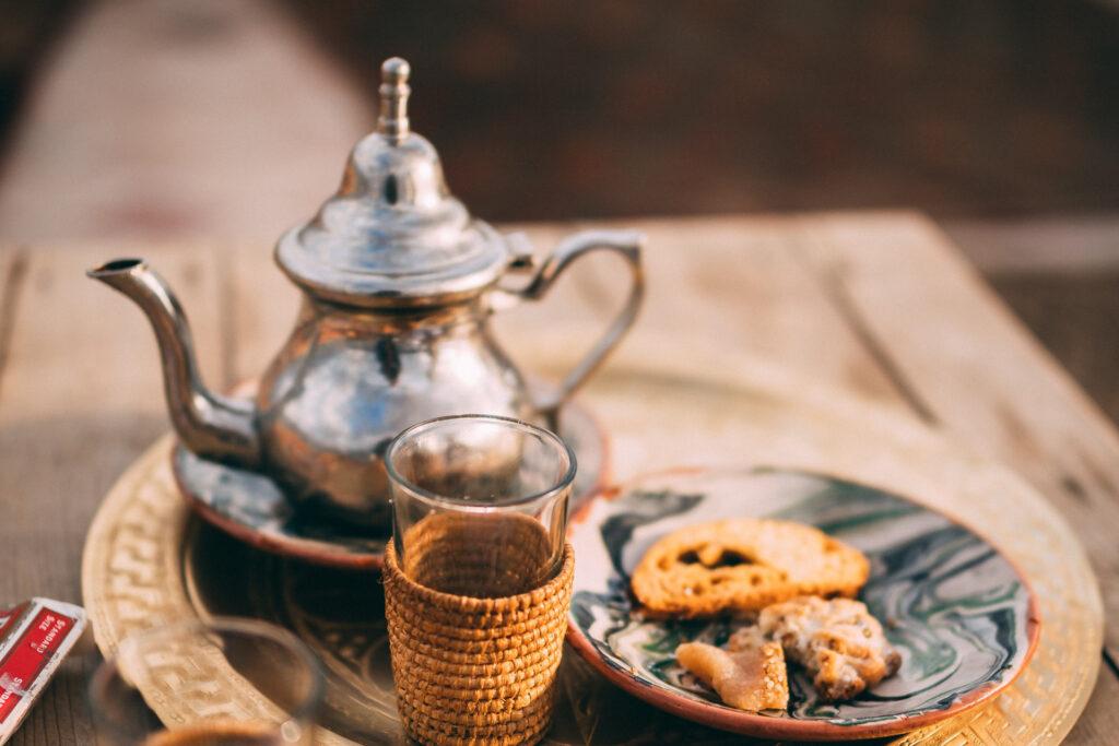 traditional serving tea set for Moroccan tea