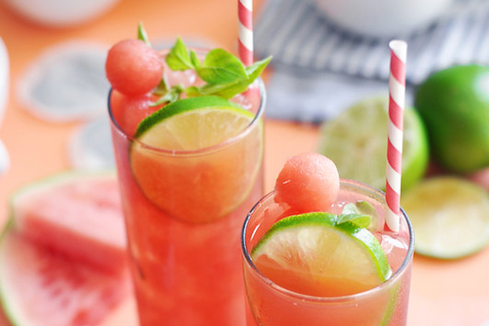 Watermelon basil iced tea